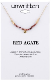 "Unwritten Agate Faceted Stone Beaded Necklace in Gold-Tone Sterling Silver, 16""+ 2"" extender"