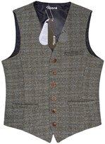 Zicac Men's Unique Advanced Custom Vest Skinny Wedding Dress Waistcoat (L,)