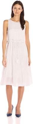 Moon River Women's Sleeveless Printed Dress with Tie Waist