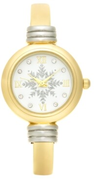 Charter Club Holiday Lane Women's Two-Tone Bangle Bracelet Watch 28mm, Created for Macy's