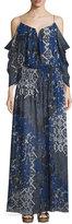 Nicole Miller 3/4 Sleeve Tarnished Textile Print Maxi Dress, Multi