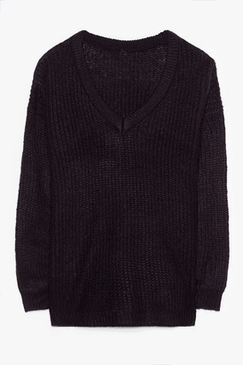 Nasty Gal Womens Jumper Weather Plus Knit Jumper - Black - 16