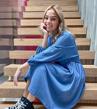 ASOS DESIGN Petite oversized textured smock midi dress in blue