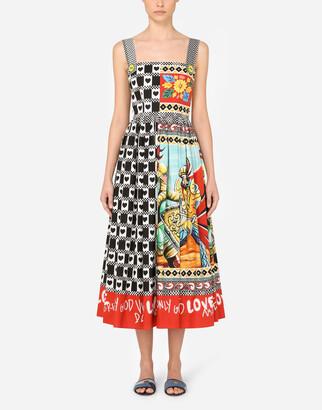 Dolce & Gabbana Long Patchwork-Print Poplin Dress