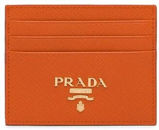 Prada Saffiano logo plaque card holder
