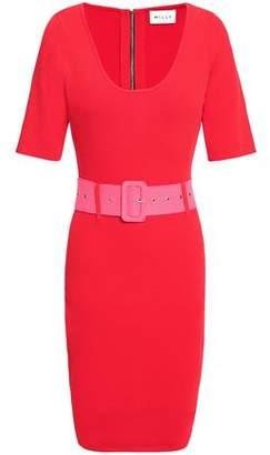 Milly Belted Stretch-knit Mini Dress