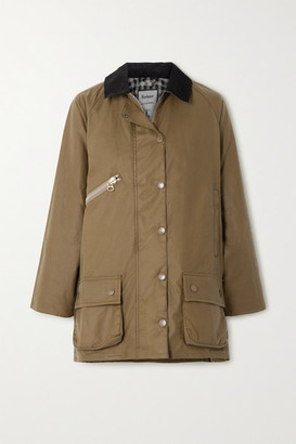 Barbour + Alexachung Edith Corduroy-trimmed Waxed-cotton Jacket - Sand