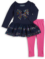 Flapdoodles Girls 2-6x Two-Piece Bow Accented Dress and Leggings Set
