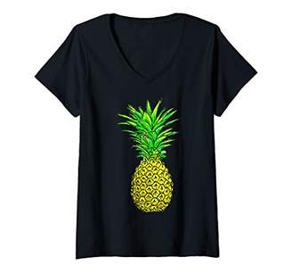 Womens Colorful Pineapple Summer Beach Vacation Gift V-Neck T-Shirt