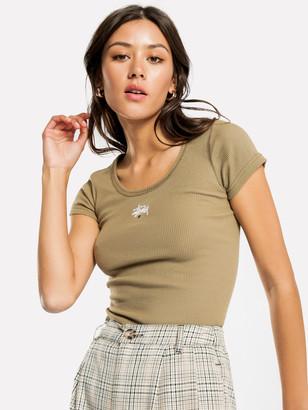 Stussy Graffiti Rib Short Sleeve T-Shirt in Khaki