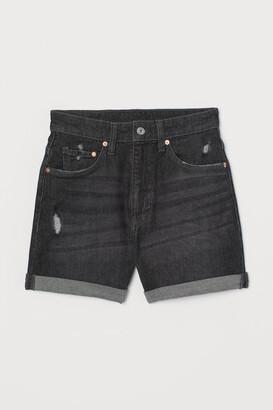 H&M Mom Ultra High Denim Shorts - Black
