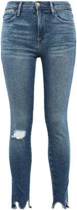 Frame Beckinsale Distressed Mid-rise Skinny Jeans