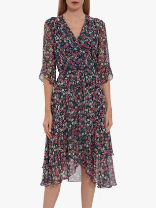 Gina Bacconi Lerina Floral Chiffon Dress, Navy/Multi