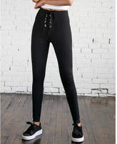 Express high waisted thick grommet lace-up leggings