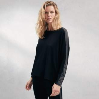 The White Company Stripe Sleeve Jersey T-Shirt, Black, Large