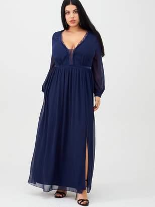 Little Mistress Curve Scalloped Lace Trim Maxi Dress - Navy