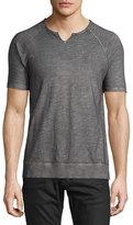 John Varvatos Raglan-Sleeve Split-Neck T-Shirt, Cast Iron