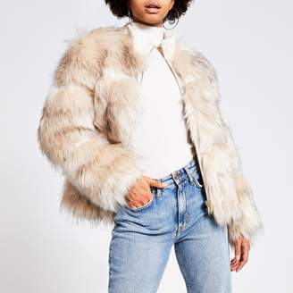 River Island Womens Cream faux fur zip front jacket
