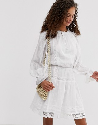 Asos Design DESIGN lace insert mini skater dress