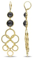 Catherine Malandrino Hematite And Diamond Earrings In 18k Yellow Gold Plated Sterling Silver.