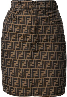 Fendi Pre-Owned Zucca pattern denim skirt