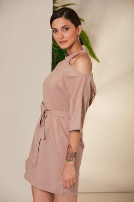 Jenerique Wrap Summer Day Dress in Cappuccino colour