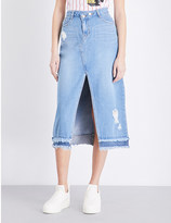 SteveJ & YoniP Steve J & Yoni P Asymmetric high-rise denim skirt