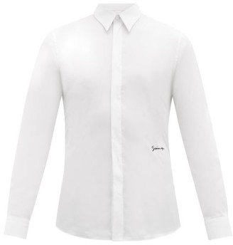 Givenchy Signature-embroidered Cotton-blend Shirt - Mens - White
