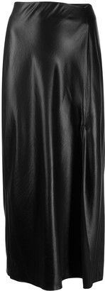 T By Alexander Wang Leather Look Midi Skirt