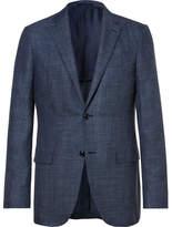 Ermenegildo Zegna Blue Slub Wool, Silk and Linen-Blend Blazer