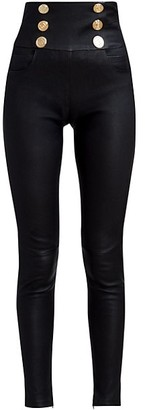 Balmain 6 Button Stretch Leather Skinny Pants