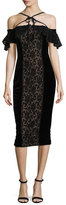 Marchesa Velvet Off-the-Shoulder Midi Cocktail Dress w/ Lace