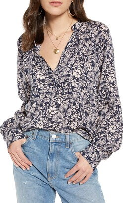 Treasure & Bond Floral Long Sleeve Blouse