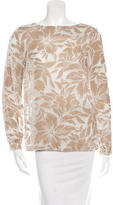 Massimo Alba Velvet-Accented Floral Blouse w/ Tags