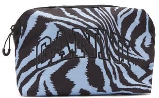 Ganni Logo-embroidered Tiger-print Makeup Bag - Blue Multi