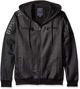 GUESS Men's Logan Moto Zip up Hoodie
