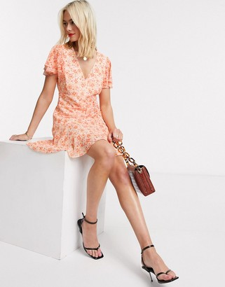 Forever New flippy hem mini dress in apricot print