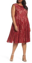 Gabby Skye Plus Size Women's Illusion Lace Pleat Midi Dress