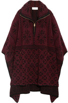 Chloé Oversized Wool And Cashmere-blend Terry Cape - Burgundy