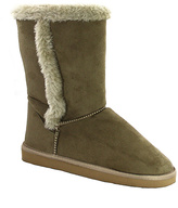 C Label Natural Faux Fur Trim Cupcake Boot