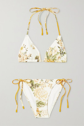 Zimmermann Amelie Floral-print Triangle Bikini - Ivory