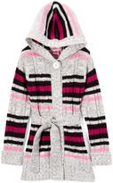 Pink Angel Fuchsia Stripe Tie-Waist Hooded Duster - Infant, Toddler & Girls