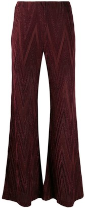 M Missoni Zig-Zag Flared Knit Trousers