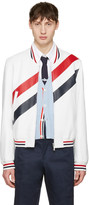 Thom Browne White Stripe Varsity Jacket
