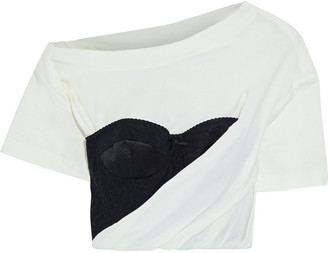 Alexander Wang Cropped Embroidered Tulle-paneled Draped Cotton-blend Jersey T-shirt