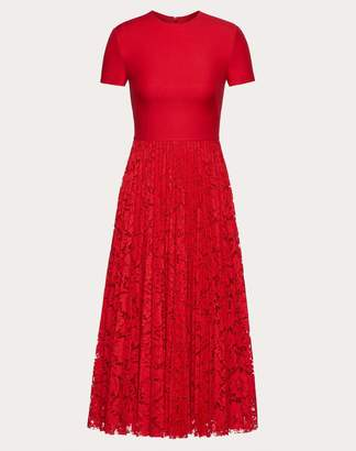 Valentino Crepe Couture And Heavy Lace Pleated Dress Women Red Cotton 41%, Viscose 39%, Polyamide 20% 42