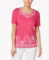 Alfred Dunner Reel It In Embroidered Square-Neck Top