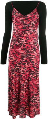 AllSaints Layered Leopard Print Dress
