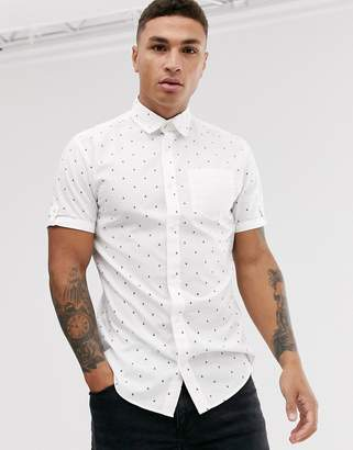 Jack and Jones Originals ditsy print short sleeve shirt in white