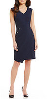 Antonio Melani Hannie V-Neck Sleeveless Pique Sheath Dress